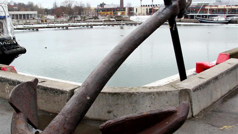 A big old anchor on the port area Footage