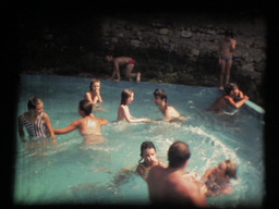 Public pool, crowd, fun in the sun, vintage 8mm Footage