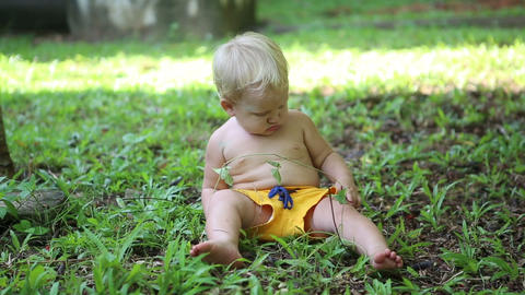 baby sitting on grass and exploring vegetation Footage