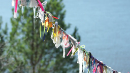 Pagan Symbols Colorful Cloth On A Rope For Spirits stock footage