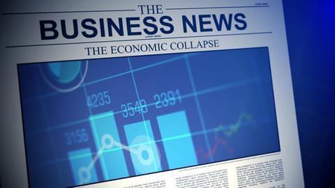 4K. Newspaper with business news. Shallow Depth of Acción en vivo