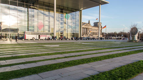Reichstag Berlin With Glass Facade In Foreground - stock footage