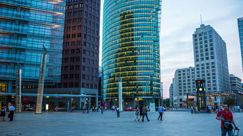 4K Berlin Potsdamer Platz in the evening - DSLR hy Footage