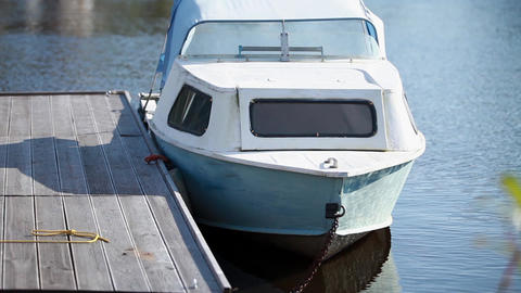 Motorboat moored at the pier Footage