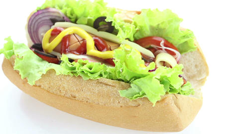 HD Footage, Close Up Hot Dog On White Background,  stock footage