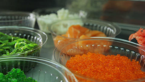 Dolly shot of sushi rolls ingredients Footage