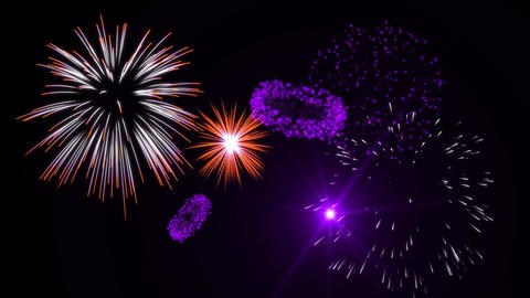 Purple & Orange Fireworks CG動画素材