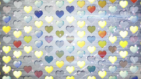 colorful flashing heart shapes loopable background Animation