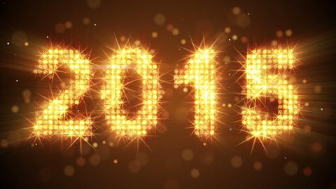 New Year 2015 Greeting Glowing Orange Particles Lo stock footage