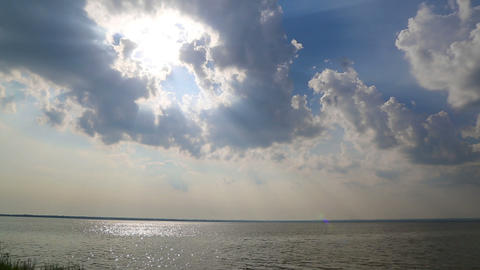 beautiful landscape with clouds and sunlight over  Footage