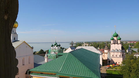 Panorama of Kremlin in ancient town Rostov the Gre Footage