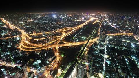 Panorama of night city. Thailand. Bangkok Footage