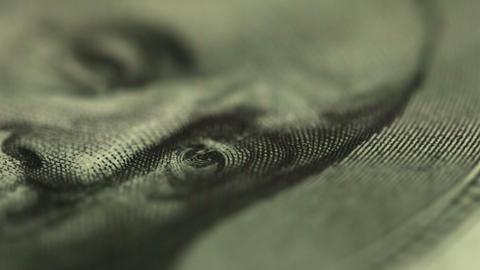 Dollar close up. Eyes of U.S. President Footage