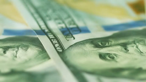 U.S. money close up. Bank Notes of 100 dollars Footage