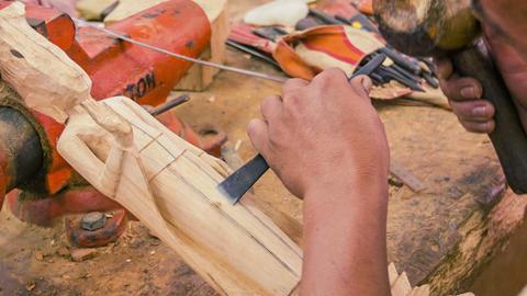 SIEM REAP. CAMBODIA - CIRCA DEC 2013: Making woode Footage