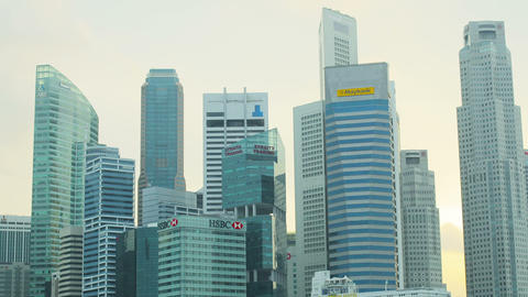 SINGAPORE - CIRCA JAN 2014: Skyscrapers in downtow Footage