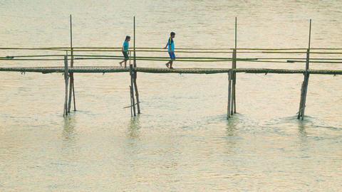 LUANG PRABANG. LAOS - CIRCA DEC 2013: Bamboo footb Footage