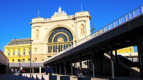 The Famous Keleti Palyaudvar Trainstation In Budap stock footage