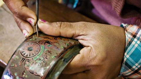 BAGAN. MYANMAR - 10 JAN 2014: Etching with needle Footage