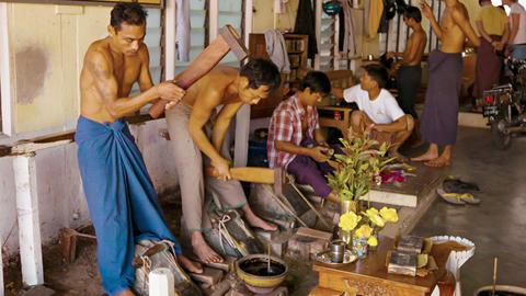 MANDALAY. MYANMAR - 13 JAN 2014: Goldbeating is th Footage