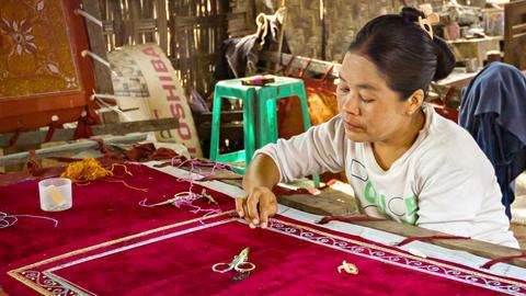 MANDALAY. MYANMAR - 13 JAN 2014: Burmese tapestry Footage