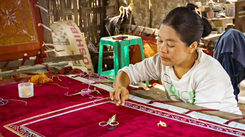 MANDALAY. MYANMAR - 13 JAN 2014: Burmese Tapestry stock footage