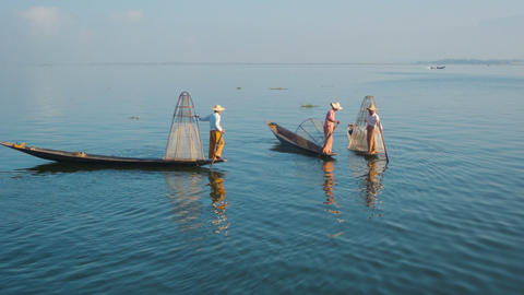 Myanmar. Inle Lake. Fishermen on vintage boats Footage