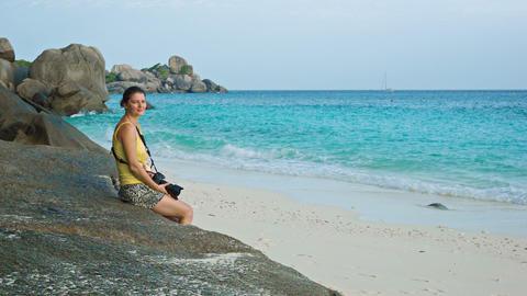 Tourist sitting on the beach. Similan Islands. Tha Footage