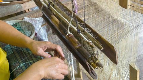 Weaving Pattern On An Old Loom. Laos. Luang Praban stock footage