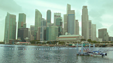 View of the skyscrapers of Singapore on a cloudy d Footage