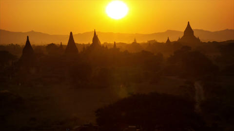 Sunset in Bagan. Top view of the architectural com Footage