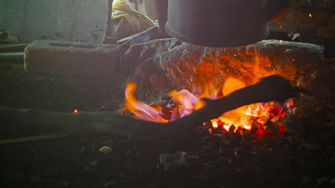 Fireplace In The Smithy. Burma stock footage