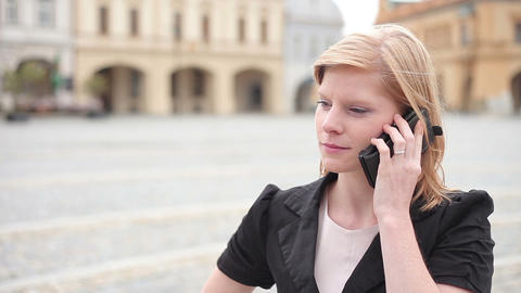Businesswoman talking on the phone Footage