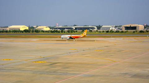 BANGKOK. THAILAND - 14 JAN 2014: Landed Aircraft A stock footage
