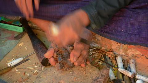 BAGAN. MYANMAR - CIRCA JAN 2014: Craftsman manufac Footage