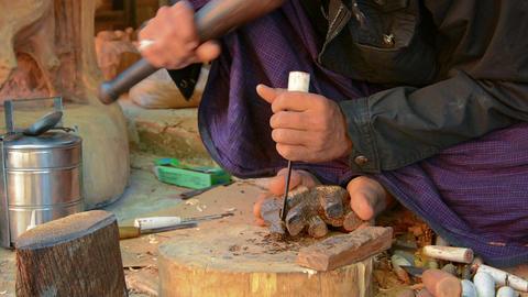 BAGAN. MYANMAR - CIRCA JAN 2014: Work on making so Footage