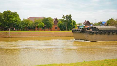 AUTHAYA. THAILAND - CIRCA NOV 2013: Ship tractor p Footage