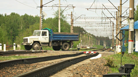 LUKINO. RUSSIA - CIRCA MAY 2014: Tractor. car and Footage