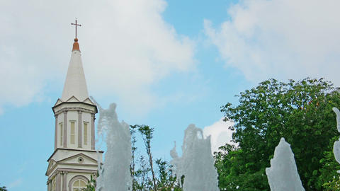 Tower Of Cathedral Of The Good Shepherd And A Foun stock footage