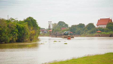 Barges go down the river. Thailand. Ayutthaya Footage