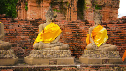 Buddha Statues In An Old Buddhist Temple. Thailand stock footage