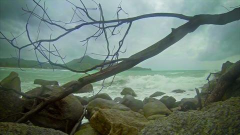 Cloudy Weather. Beach Near Kamala Beach. The Rainy stock footage