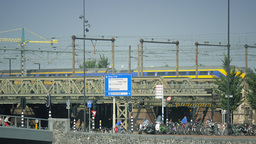 4K Urban Amsterdam scenery, rail and bike traffic Footage