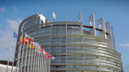 4K European Parliament Building In Strasbourg stock footage