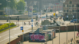 4K Crossroad, urban city scenery of Amsterdam Footage