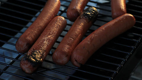 hotdogs on the grill closeup Footage