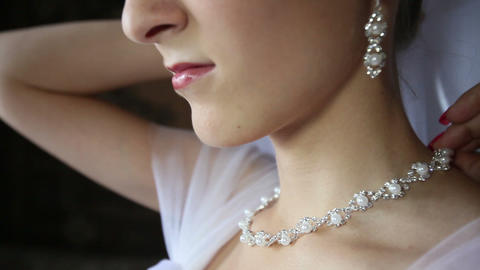 bride necklace of pearls in a silver frame Footage