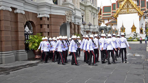 thai soldiers in royal palace Footage