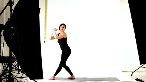 young woman exercise complete circle of yoga poses Stock Video Footage