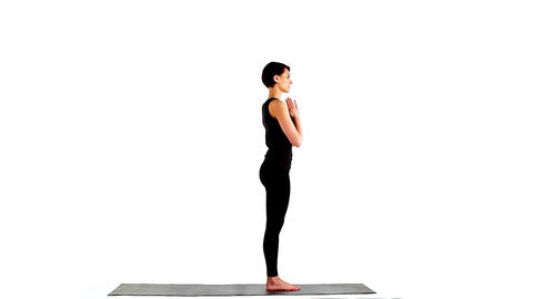 Beauty woman - exercise circle of yoga asana Stock Video Footage